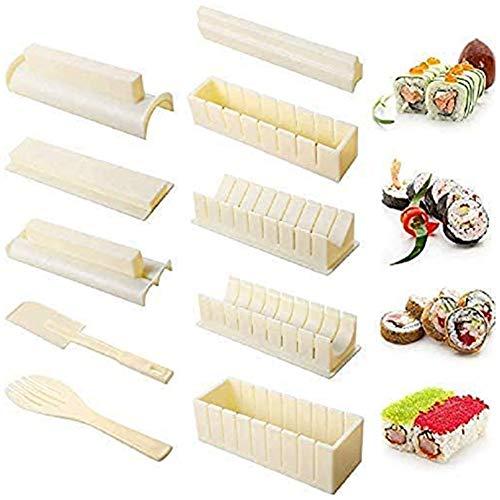 Sushi Making Kit Deluxe Edition,Sushi Set 10 Stück Kunststoff Sushi Maker Tool,Sushi Reisrolle Form Formen Gabel Spatel DIY Home Sushi Tool