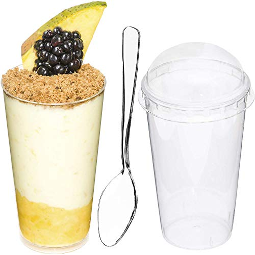 DLux 50 x 3oz Mini Dessert Cups with Lids & Spoons, Shooter - Clear Plastic Parfait Appetizer Cup - Small Reusable Cups for Tasting Party Desserts Appetizers - With Recipe Ebook