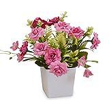 Olymajy Flores Artificiales Exterior macetas Rosas de Seda plástico Artificiales Altamente realistas para la Oficina del Hotel Mesa de Cocina Decoración de jardín y Regalo para la casa Nueva