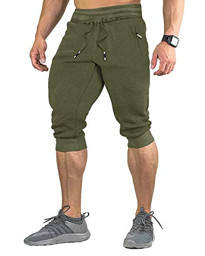 EKLENTSON Hombre 3/4 Jogger Pantalones Capri Cortos Deportivos Pantalones con Cremallera Bolsillo,Hombre,Verde Militar,W32