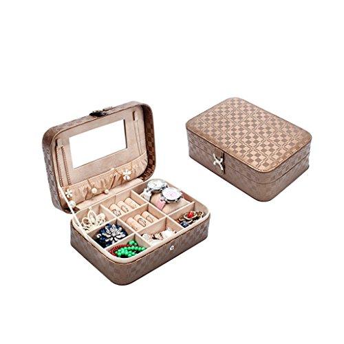 Power uk- Boîte à Bijoux monocouche boîte à Bijoux de Style européen Boîte de Rangement de Bijoux Boucles d'oreilles boîte de Rangement avec Miroir (Couleur : Color E)