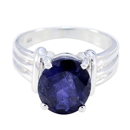 joyas plata piedras preciosas reales forma ovalada una piedra anillos de iolita facetados - anillo de iolita azul de plata 925 - nacimiento de febrero acuario