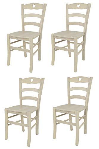 Tommychairs - Set 4 sillas Cuore para Cocina y Comedor, Estructura en Madera de Haya Color anilina Blanca y Asiento en Madera