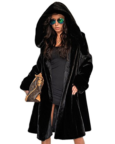 Aofur Damen Winter Wintermantel Winterjacke Lange warme Dick Parka Faux Pelz Jacke mit Kapuze Mantel (42 44/Tag L, Black)