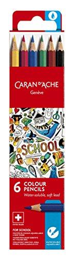 Caran d'Ache School Line Water-soluble Color Pencils, 6 Colors