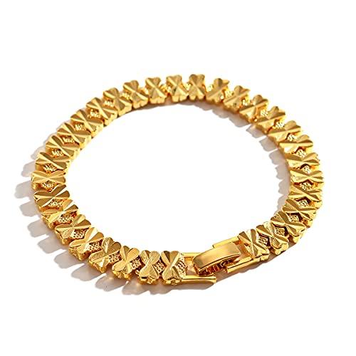 Pulsera tallada Bowknot para mujer y niña, joyería chapada en oro amarillo de 18 quilates