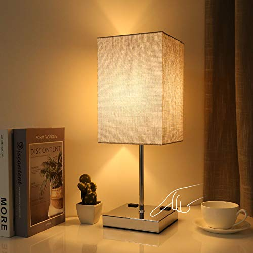Bedside Table Lamp, Doowo 3 Way Dimmable Touch Control Nightstand Lamps, Dual 2-Prong Outlet Ports, Silver Linen Fabric Shade, Chrome Base, Decor for Desk, Bedroom, Livingroom (Bulb Included)