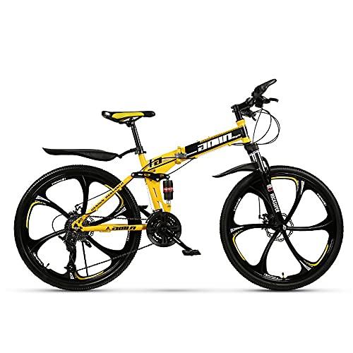 NAINAIWANG Suspensión Bicicleta montaña Plegable Ruedas 26 Pulgadas 21/24/27 Velocidad Acero Carbono Hombres MTB Frenos de Disco Doble Marco Plegable Estudiante Adulto Aire Libre Unisex