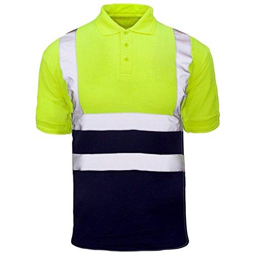 MyShoeStore Hi Viz Vis Alta Visibilidad Polo Camisa Reflectante Cinta Ropa de Trabajo Seguridad Camiseta