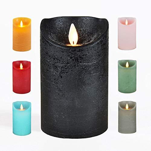 JACK LED Echtwachskerze Kerze viele Farben DREI Größen Timer Ø 7,5cm flackender Docht Wachskerze Kerzen Batterie, Farbe:Schwarz, Größe:12.5 cm