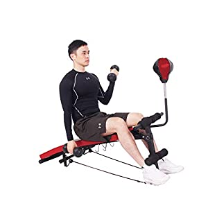 soges Adjustable Utility Bench Exercise Bench Sit Up Weightlifting And Strength Training Board Crunch Board Ab Bench with Boxing Ball, dumbbells and Pull Ropes for Home Gym Workout YKTH-ASM-R