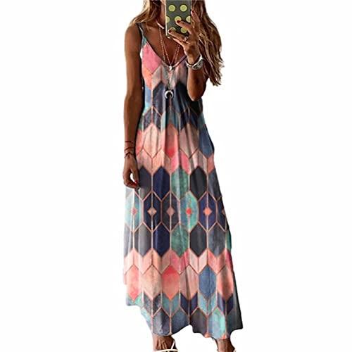 LYAZFC Vestido Largo Camisola con Estampado Multicolor Casual de Verano para Mujer