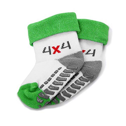 Skoda 000084361B Baby Socken 4x4 Strümpfe Söckchen, Größe 12-14, grün/weiß