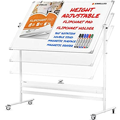 Mobile Whiteboard - 60x46 Large Height Adjust 360° Rolling Double Sided Dry Erase Board, Magnetic White Board on Wheels, Office Classroom Portable Easel with Stand, Flip Chart Holders and Pad | White