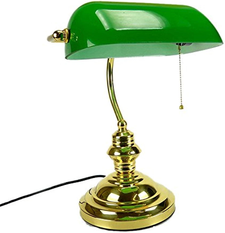 CGN Minister Lampe mit Kette, American Style Desk Lamp Studio glnzend Messing Grün Glas Retro Lampe Studie Eisen Lampe schwarz Lampe Licht 26  38 cm Dekoration (Farbe   Grün)