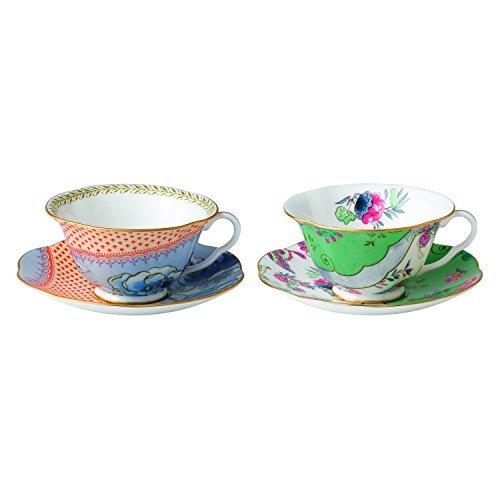 Wedgwood - Set di 2 tazze da tè e piattino, motivo: fiori di farfalle e peonia blu