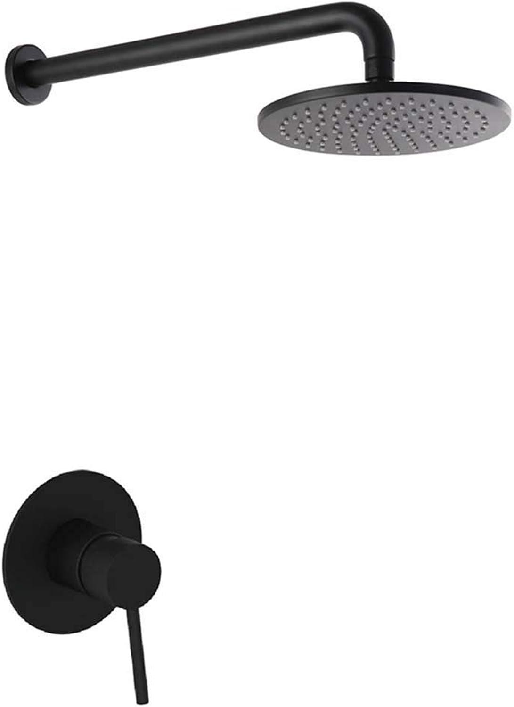Shower System,Black Shower Set with High Pressure Rainfall Shower Head for Bathroom, Wall Mounrt Square Shower Combo Set