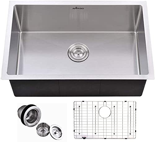 APPASO 30-Inch Single Bowl Handmade Kitchen Sink Undermount, 18 Gauge Commercial Stainless Steel 10 inch Deep Large Drop-in Kitchen Sink, R301810