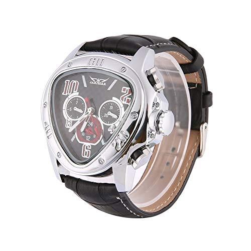 Peanutaod Jaragar Men Automatische mechanische Armbanduhr Lederarmbanduhren Dreieckiges schwarzes Zifferblatt Business-Uhren Skelettuhren
