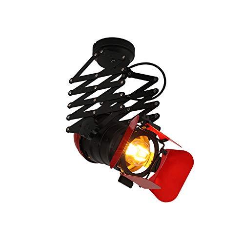 Track Plafonnier Lampe Rétro Noir Télescopique Spotlights Barre De Personnalité Magasin De Vêtements Vintage Pendentif Lumière LOFT Industriel E27 Spotlight Loft Commercial Intérieur Décoratif Lumière