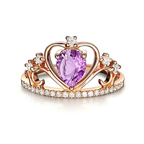 Bishilin Anillo de Compromiso de Plata de Ley 925 para Novia Ajuste Cómodo Forma de Corona Hueca Púrpura Pera Cristal Alianza de Compromiso Muy Pulida con Bolsa de Joyeríaoro Rosa Talla: 12