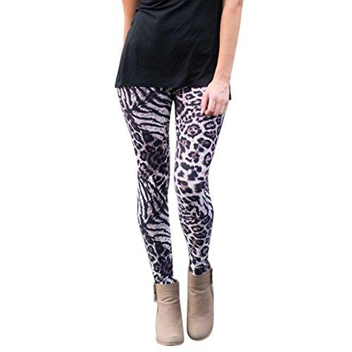 OverDose leggings mujer deporte pantalones elásticos de impresión de leopardo