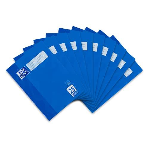 Oxford 384403225 Schulheft A4, liniert mit Rand, Lineatur 25, 32 Blatt, hochwertiges 90 g/m² Papier, blau, 10er Pack