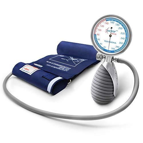 AIESI® Professionele Handmatige Bloeddrukmeter. Aneroïde barometer, volwassen handheld model DOCTOR ANEROID. Mechanische arm bloeddrukmeter. Verstelbare handgreep. Garantie 24 maanden.