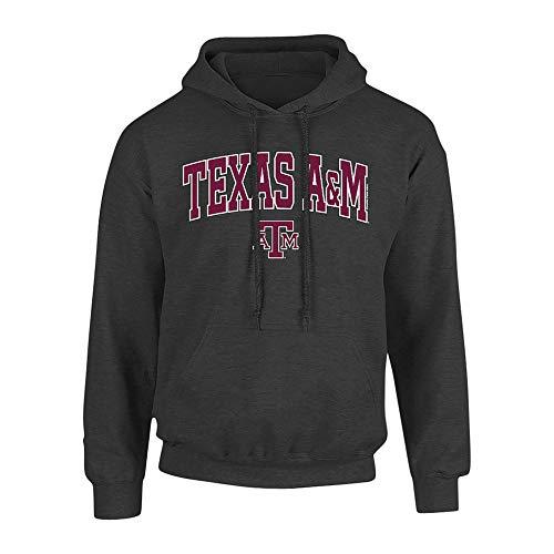 Elite Fan Shop Texas A&M Aggies Hooded Sweatshirt Arch Over Plus Size 2X 3X 4X 5X Charcoal - XXX-Large