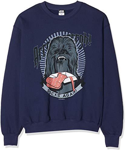 Star Wars Herren Men's Chewbacca Socks Again Christmas Sweatshirt, Blau (Navy 004), Large