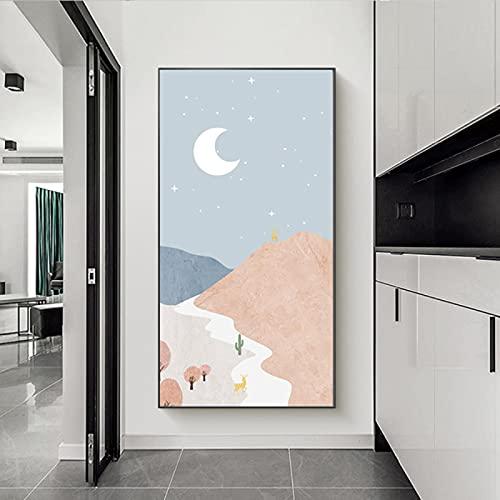 Abstracte Grote Foto's voor Woonkamer Berg Canvas Moon Wall Art Boho, Herten Foto's voor Hal Slaapkamer Muur Decor…