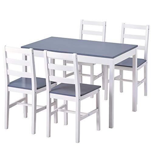 jeerbly Esstisch und Stühle, Set aus 4 massiven Kiefernholz, Küchentisch und Stühle (weiß, 1 Tisch + 4 Stühle)