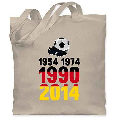 Shirtracer Fußball-Europameisterschaft 2021-1954, 1974, 1990, 2014 - WM 2018 Weltmeister Deutschland - Unisize - Naturweiß - Gewinner - WM101 - Stoffbeutel aus Baumwolle Jutebeutel lange Henkel
