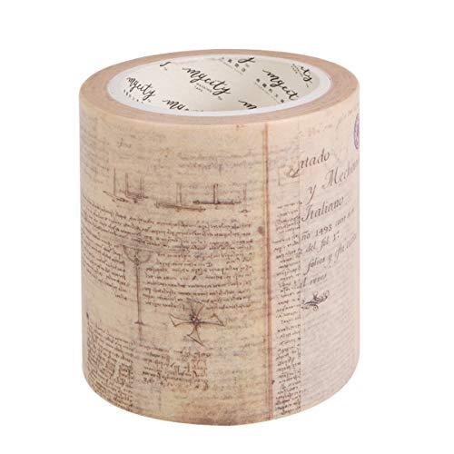 Healifty vintage washi tape wide adhesivo cinta de papel calcomanías decorativas para diario bullet journal planner diy arte manualidades scrapbooking (patrón 4)
