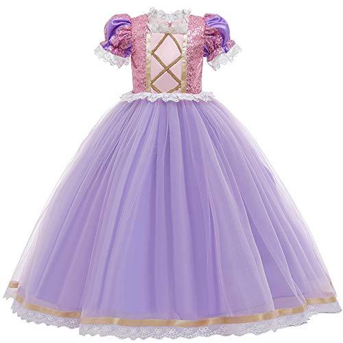 O.AMBW Vestido de Princesa para niña Disfraz de Rapunzel Vestido de Noche de Malla con Lentejuelas moradas Fiesta de Carnaval de Halloween Bailarina de Disfraces Cosplay Accesorios Corona