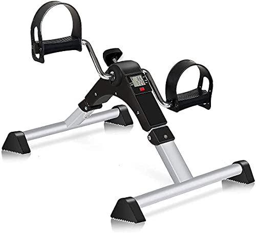 GOREDI Pedal Exerciser, Fitness Folding Exerciser Peddler for Arm & Leg Workout, Upper & Lower Under Desk Bike with Electronic Display