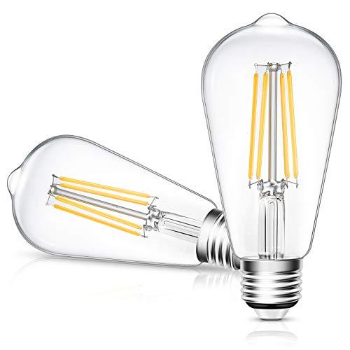 LED Edison Bulb, 6W LED Light Bulb, E26 Base, 800LM, 2700K Soft White, CRI 80+, Non-Dimmable, ETL Listed, 2 Packs