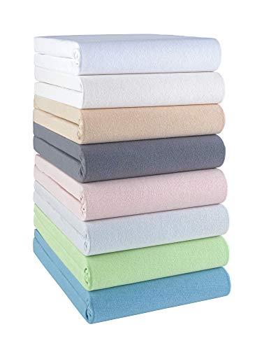 Bio Spannbettlaken GOTS Zertifiziert und Made in Green, Spannbetttuch in vielen Farben und Größen, 100% Baumwolle, 38er Steghöhe f. Wasserbetten und Boxspring Betten, 180x220-200x220, Farbe: Sand