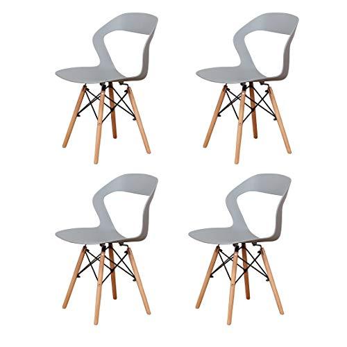stuhle 4 Set | Esszimmerstühle | Küchenstuhl | schminktisch stuh | Wohnzimmerstuhl|Retro Stuhl/samt Stuhl | Miku Stuhl/Stuhl aus natürlicher Buche mit ABS-Rückenlehne (grau)