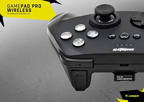 snakebyte GAMEPAD Pro - Wireless Controller für PC, Analog Joysticks, kabelloser 2,4GHz Game Controller für Computer, kompatibel mit Directinput und Xinput, integrierter Akku, extra 3m USB-Kabel
