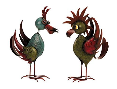 2 er Set Riesen Metall Figuren exotische Vögel 35 cm bis 36 cm Garten Dekoration Vogel