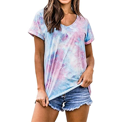 PRJN Camiseta Casual de Verano de Manga Corta con teñido Anudado para Mujer Camiseta Suelta de Moda Camiseta Camiseta Casual de Cuello Redondo de Manga Corta para Mujer Camiseta Jersey Jersey de Moda