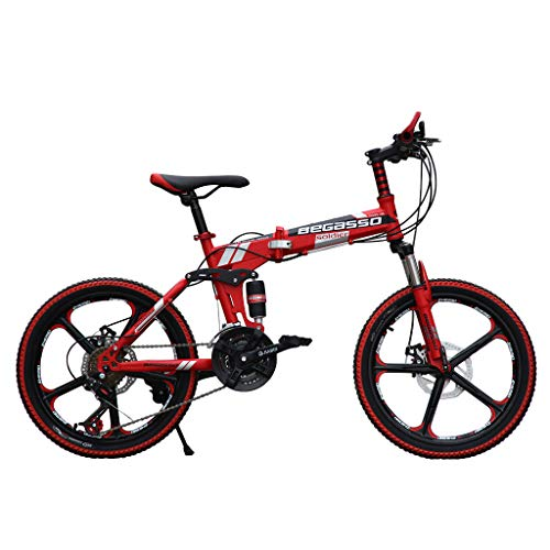 KALALY Bikes Boys Girls childFolding Mountain Bike Variable Speed Bicycle 20 Inch Boy and Girls BikeFolding Bicycles Steel Carbon