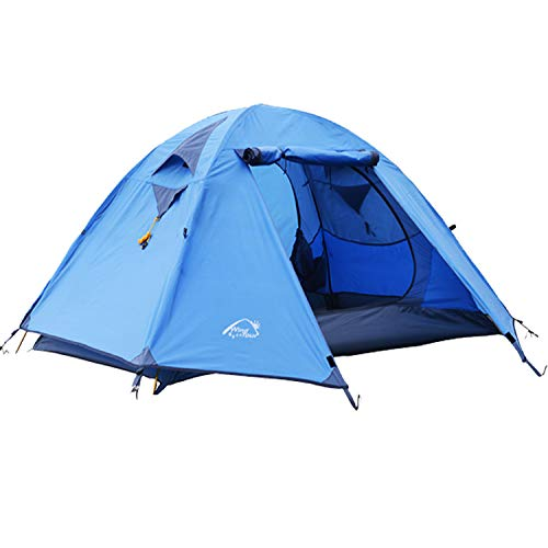 Wind Tour Professional 2 Person Weatherproof Double Layer Aluminum Windproof Backpacking Camping Tent for Outdoor Mountaineering Hunting Hiking Adventure Travel (Blue, (19.7+55.1+23.6) x 82.7)