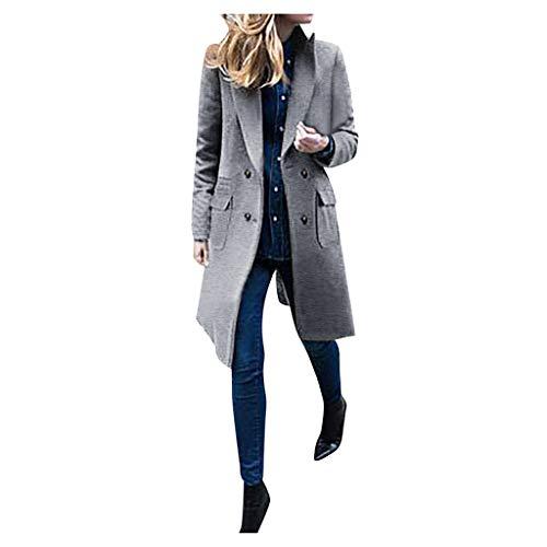 Zegeey Damen Langer Mantel Revers Trenchcoat Langjacke Outwear Coat Wollmantel Herbst Winter Pullover Bluse(Grau,38 DE/XL CN)