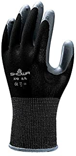 SHOWA 370B Lightweight, Flexible General Purpose Work Glove, Black, Small, 12 Pair