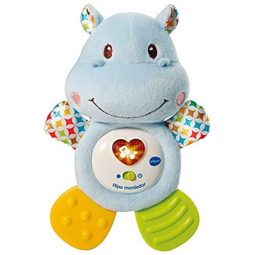 VTech- HIPO mordedor Hipopótamo de Peluche Musical y sonajero Que Ayuda a calmar y aliviar a tu Bebe con tiernas Frases, Canciones y melodías, Color Azul (3480-502522)