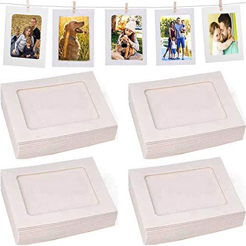 Fashion HW 40 marcos blancos para decoración del hogar, 10 x 15 cm, papel para fotos de bricolaje, marco para colgar en la pared, álbum+cuerda+clips, juego ideal para decoración del hogar, 10 x 15 cm