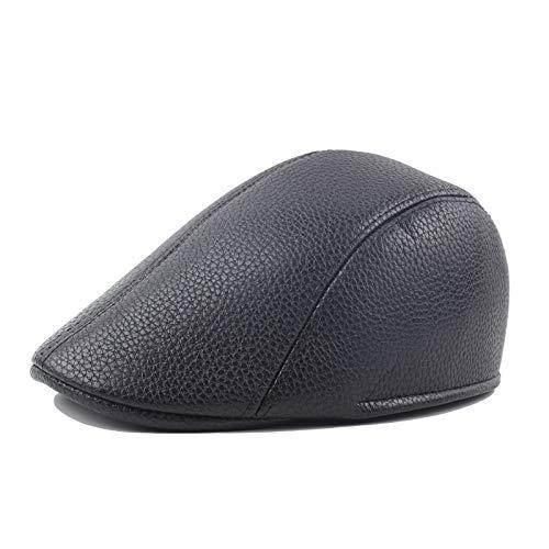 HVTKL winterhoed, taxi, mannelijk, velours, dik, PU-leer, frontsluiting, Britse stijl, hoed zwart en wit, Jane Yuebei Lei