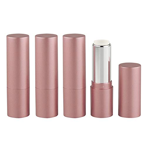 Lot de 4 tubes de rouge à lèvres vides de 3,5 g, couleur or rose mat, rechargeables, avec couvercles, pour le maquillage, les cosmétiques, les voyages, la vie quotidienne